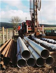 Derek Ball, BGS © NERC 2002 - casing to be used for a borehole being drilled on the Isle of Arran