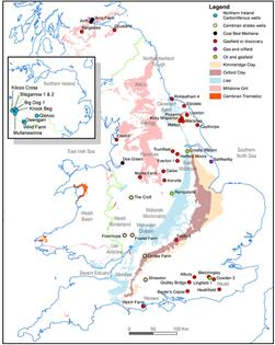 Outcrop of main black shale formations in UK and selected oil and gas wells and gasfields. © BGS, NERC (2012)