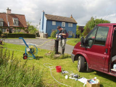 Emily Crane, BGS © NERC, 2004, Sampling groundwater from the Chalk in East Anglia